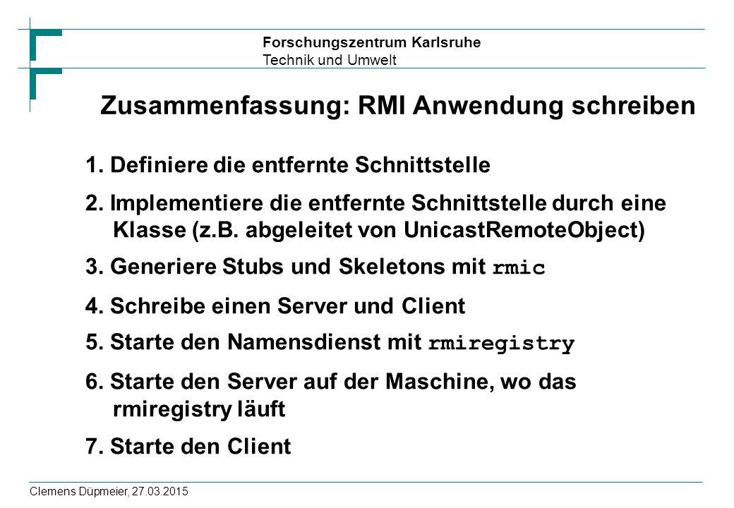 Zusammenfassung: RMI Anwendung schreiben