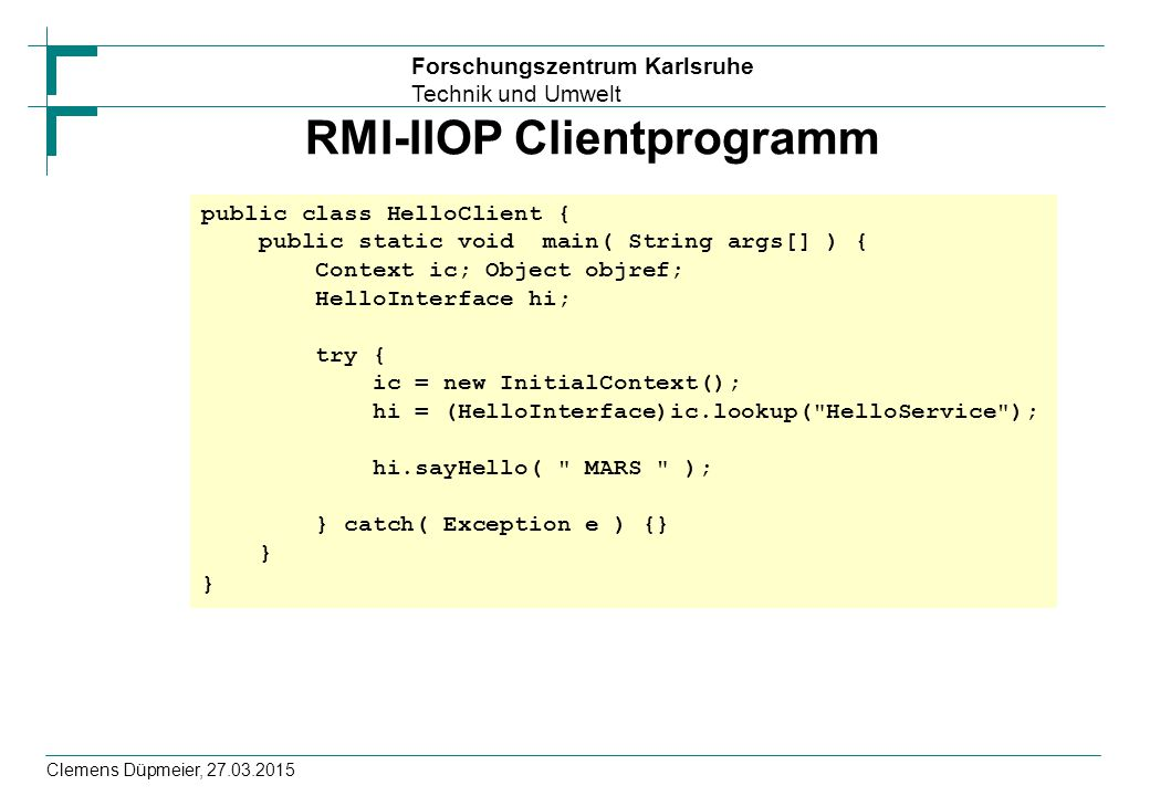 RMI-IIOP Clientprogramm