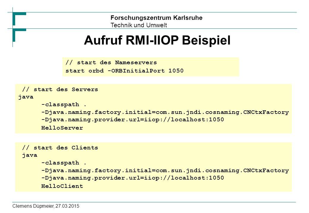 Aufruf RMI-IIOP Beispiel