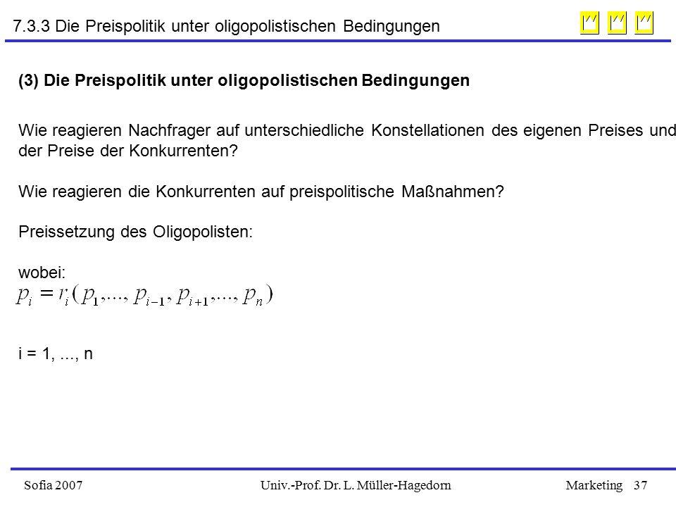 7.3.3 Die Preispolitik unter oligopolistischen Bedingungen