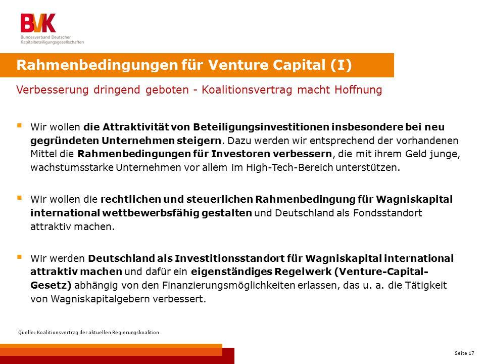 Rahmenbedingungen für Venture Capital (I)