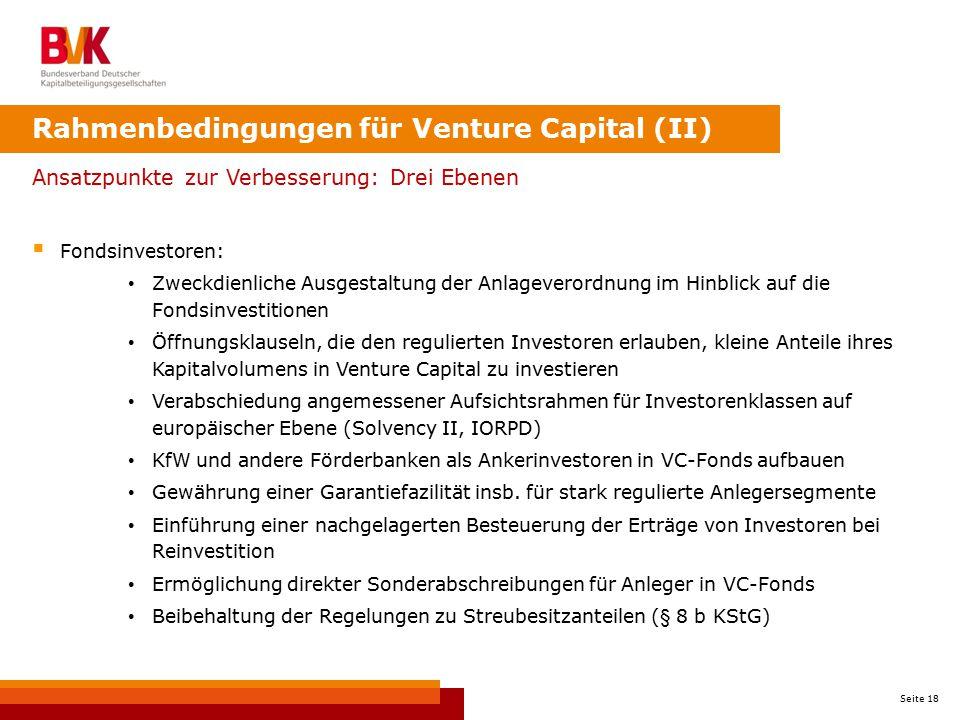 Rahmenbedingungen für Venture Capital (II)