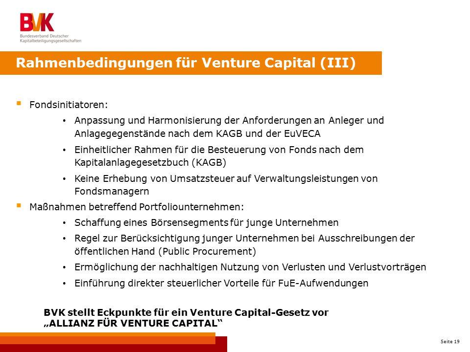 Rahmenbedingungen für Venture Capital (III)