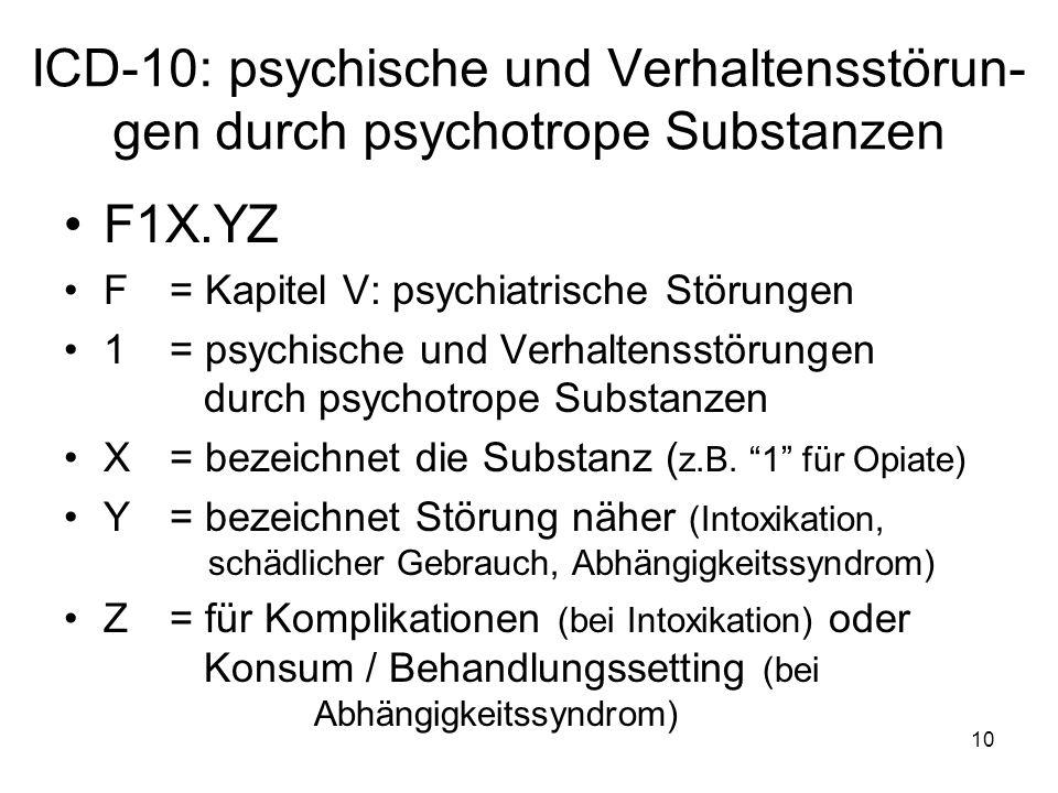 ICD-10: psychische und Verhaltensstörun-gen durch psychotrope Substanzen