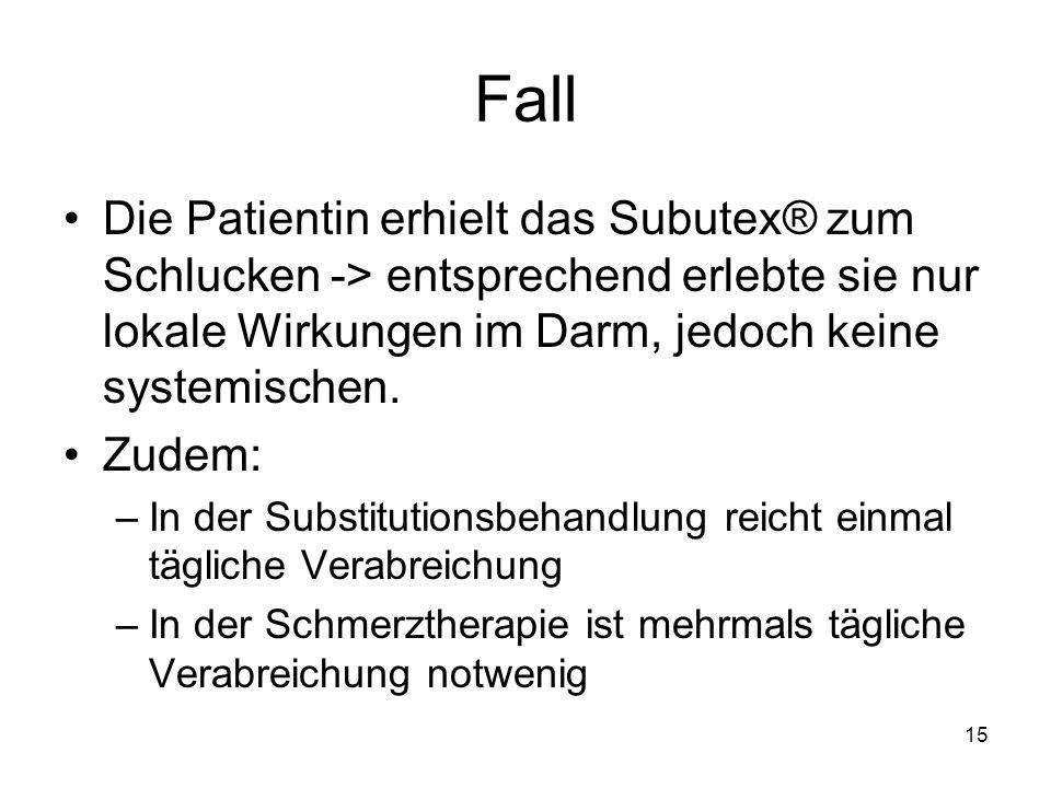 Fall Die Patientin erhielt das Subutex® zum Schlucken -> entsprechend erlebte sie nur lokale Wirkungen im Darm, jedoch keine systemischen.