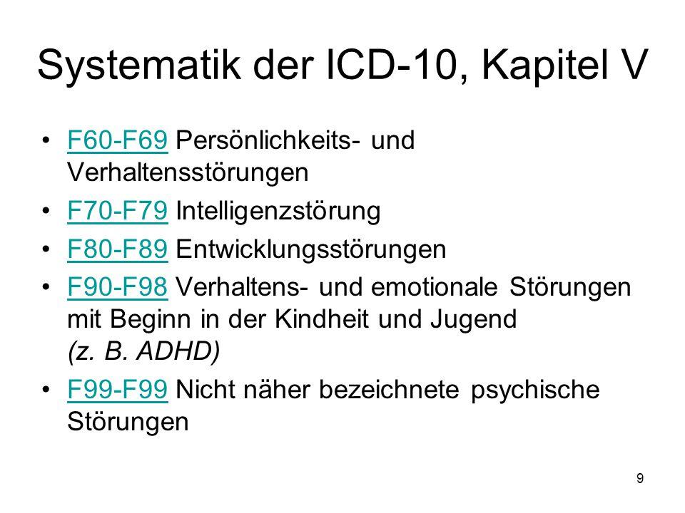 Systematik der ICD-10, Kapitel V