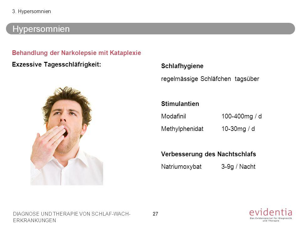 3. Hypersomnien Hypersomnien. Behandlung der Narkolepsie mit Kataplexie Exzessive Tagesschläfrigkeit: