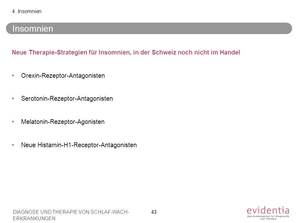 4. Insomnien Insomnien. Neue Therapie-Strategien für Insomnien, in der Schweiz noch nicht im Handel.