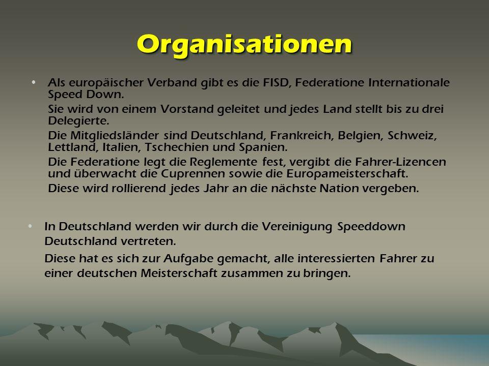 Organisationen Als europäischer Verband gibt es die FISD, Federatione Internationale Speed Down.