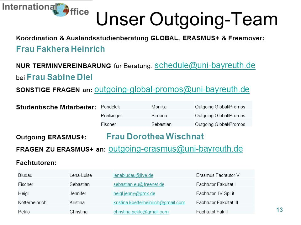 Unser Outgoing-Team Frau Fakhera Heinrich
