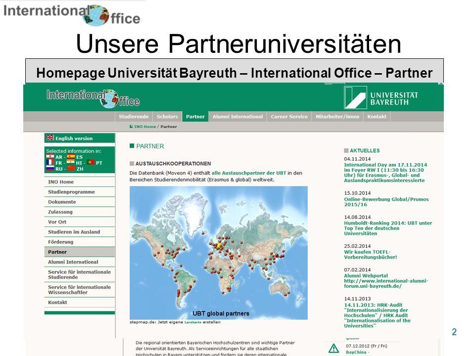 Unsere Partneruniversitäten