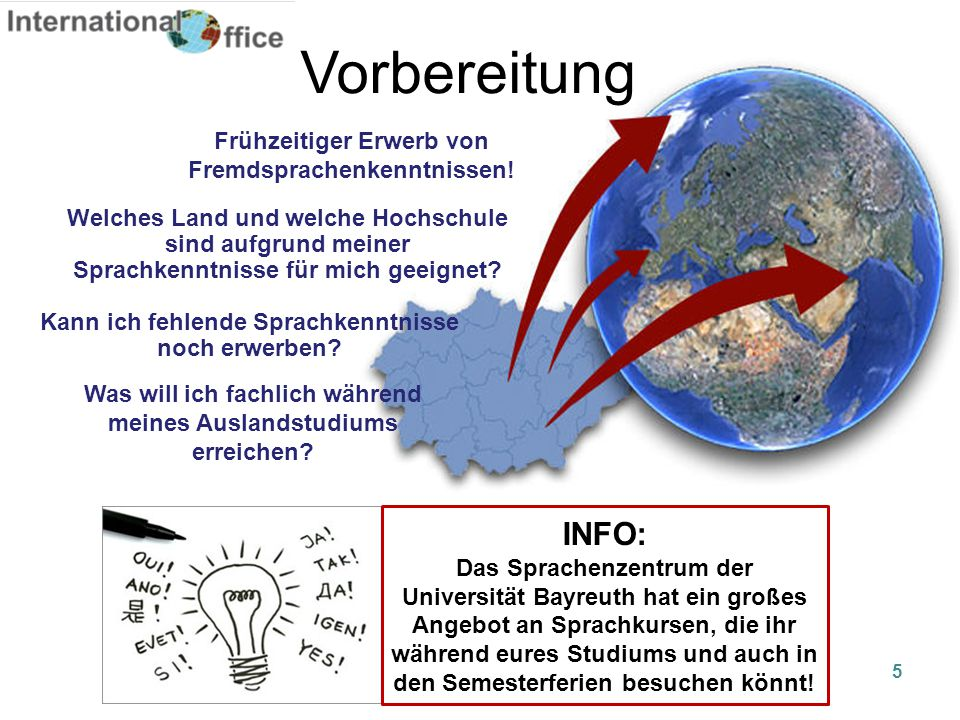 Vorbereitung INFO: Frühzeitiger Erwerb von Fremdsprachenkenntnissen!
