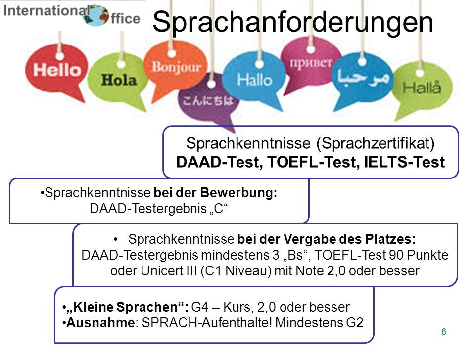 DAAD-Test, TOEFL-Test, IELTS-Test