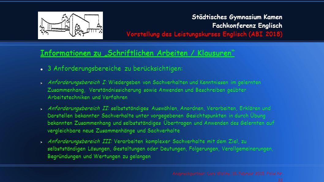 """Informationen zu """"Schriftlichen Arbeiten / Klausuren"""