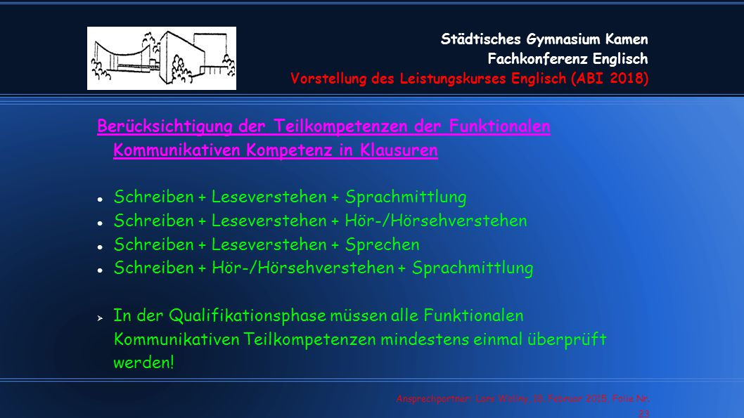Schreiben + Leseverstehen + Sprachmittlung