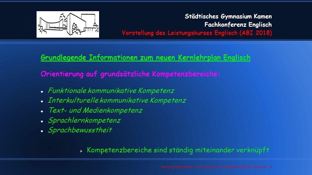 Grundlegende Informationen zum neuen Kernlehrplan Englisch