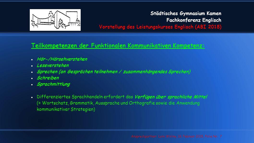 Teilkompetenzen der Funktionalen Kommunikativen Kompetenz: