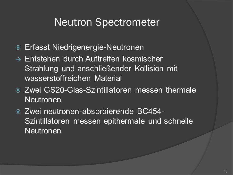 Neutron Spectrometer Erfasst Niedrigenergie-Neutronen