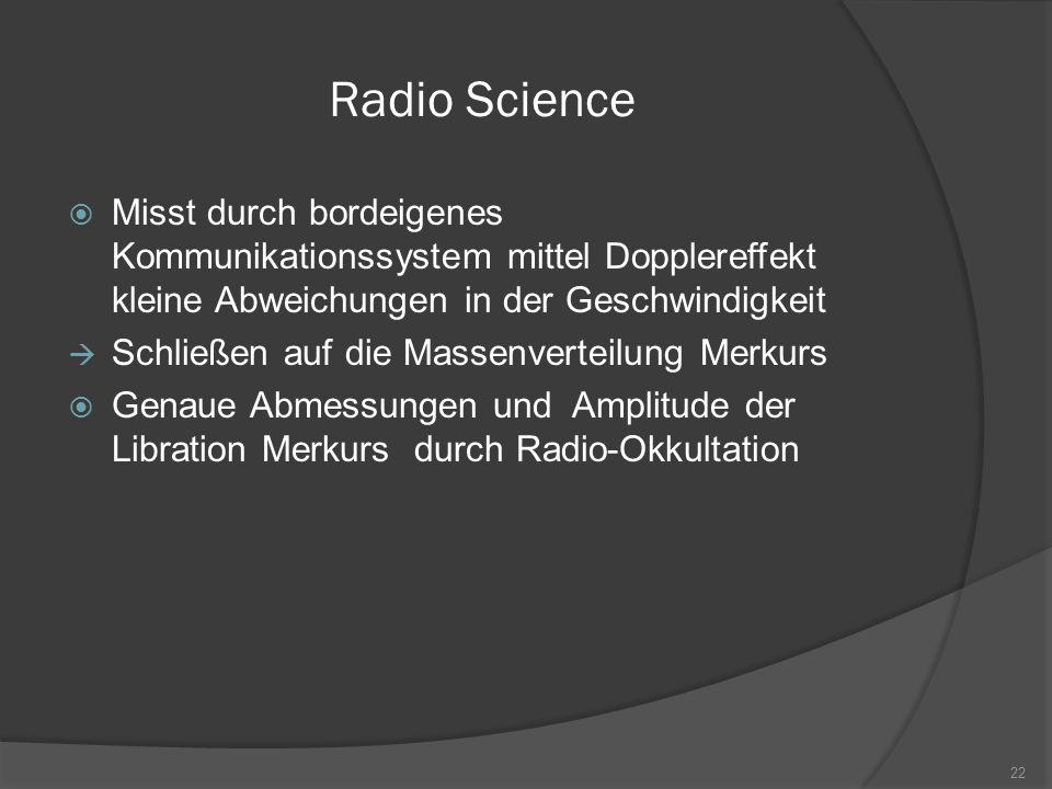 Radio Science Misst durch bordeigenes Kommunikationssystem mittel Dopplereffekt kleine Abweichungen in der Geschwindigkeit.