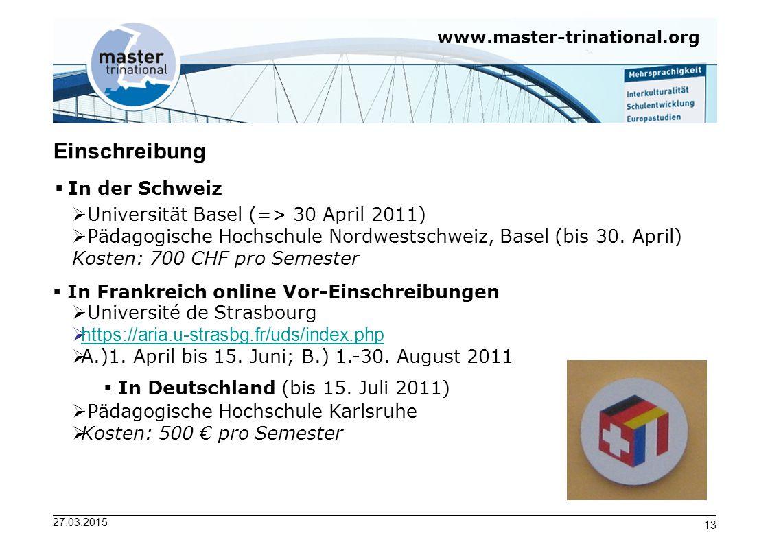 Einschreibung In der Schweiz Universität Basel (=> 30 April 2011)
