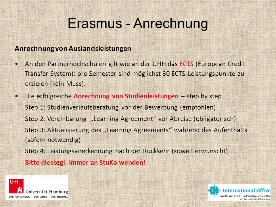 Erasmus - Anrechnung Anrechnung von Auslandsleistungen