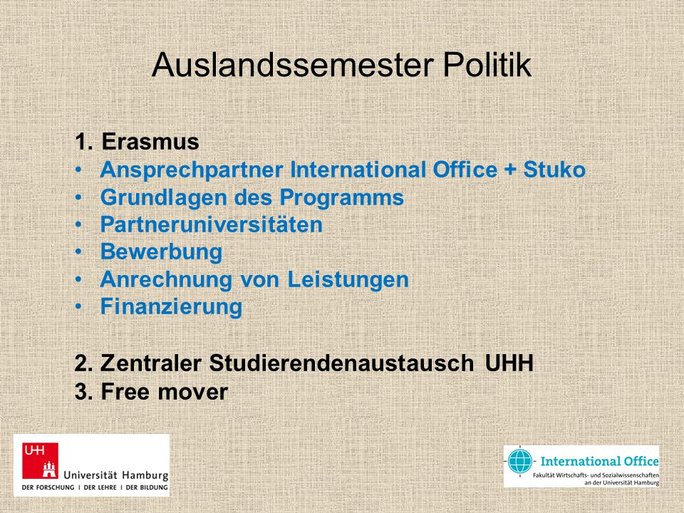 Auslandssemester Politik
