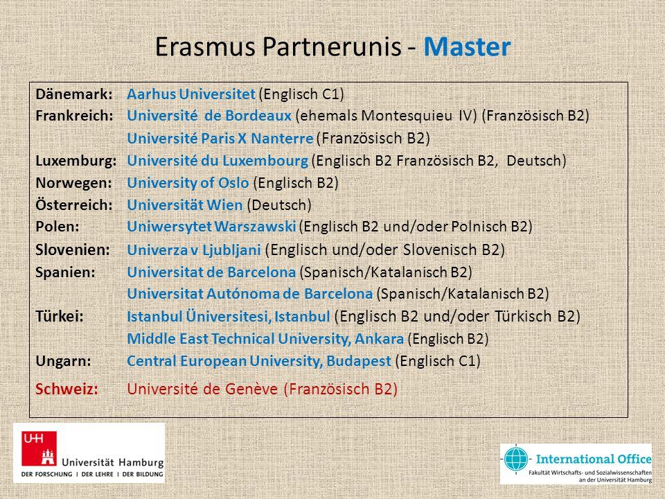 Erasmus Partnerunis - Master
