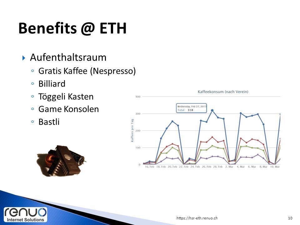 Benefits @ ETH Aufenthaltsraum Gratis Kaffee (Nespresso) Billiard