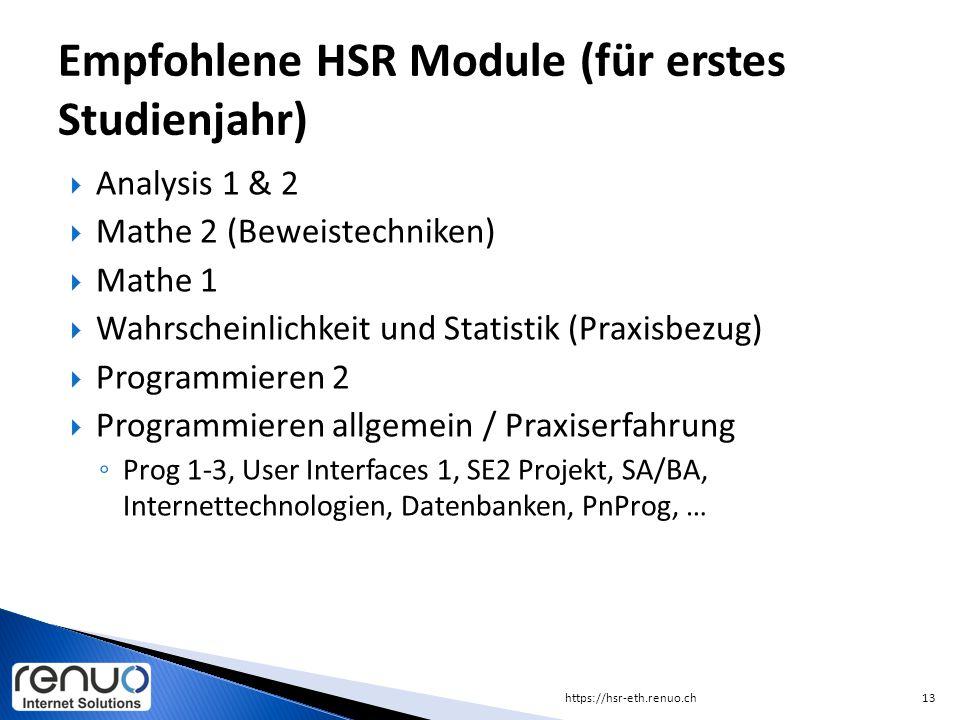 Empfohlene HSR Module (für erstes Studienjahr)