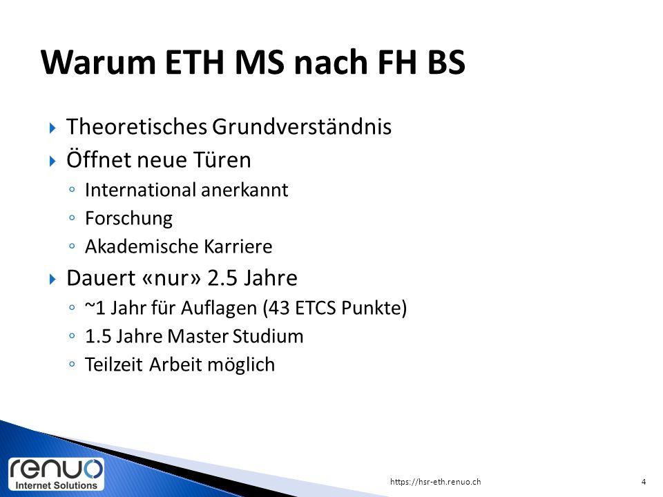 Warum ETH MS nach FH BS Theoretisches Grundverständnis