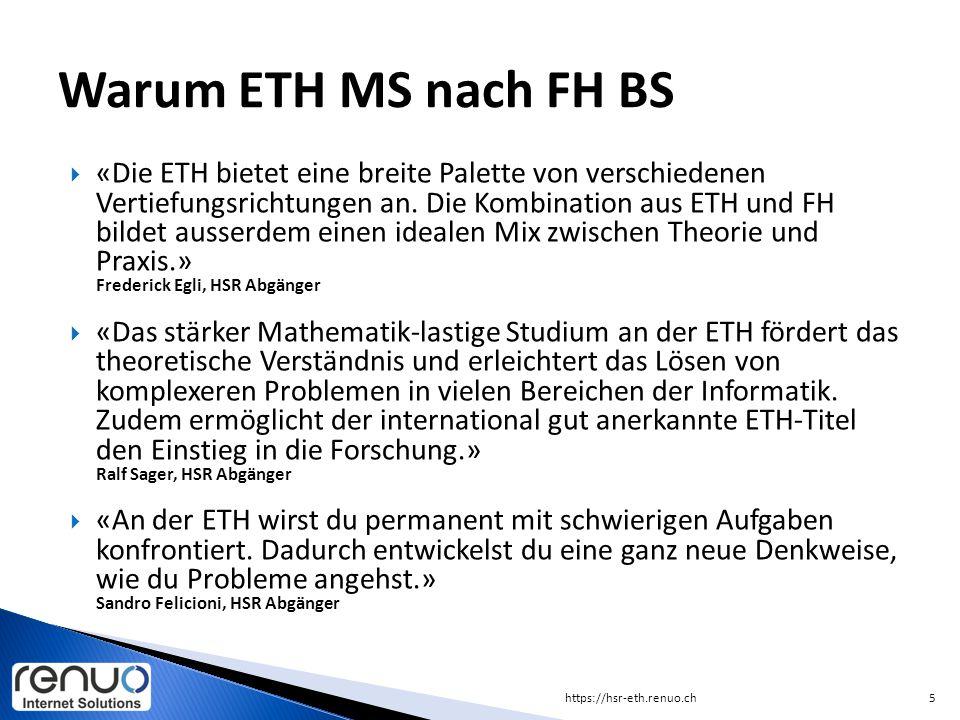 Warum ETH MS nach FH BS