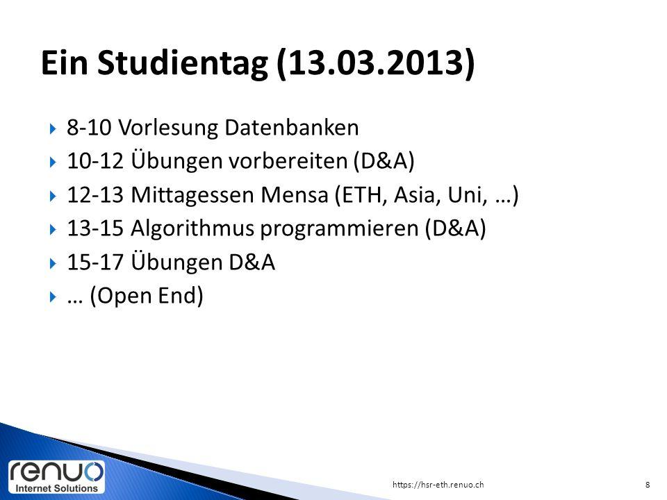 Ein Studientag (13.03.2013) 8-10 Vorlesung Datenbanken
