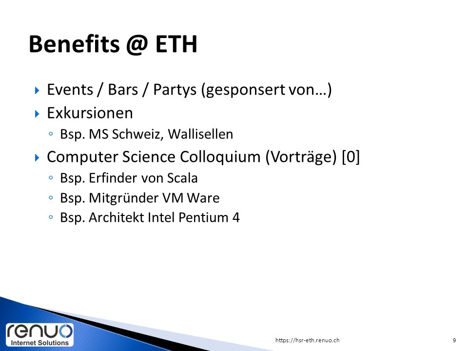 Benefits @ ETH Events / Bars / Partys (gesponsert von…) Exkursionen