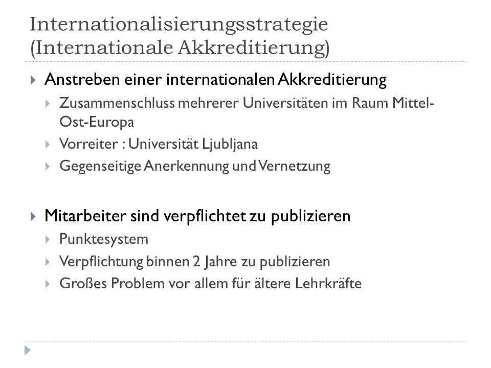Internationalisierungsstrategie (Internationale Akkreditierung)