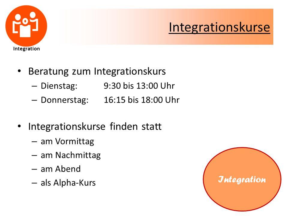Integrationskurse Beratung zum Integrationskurs