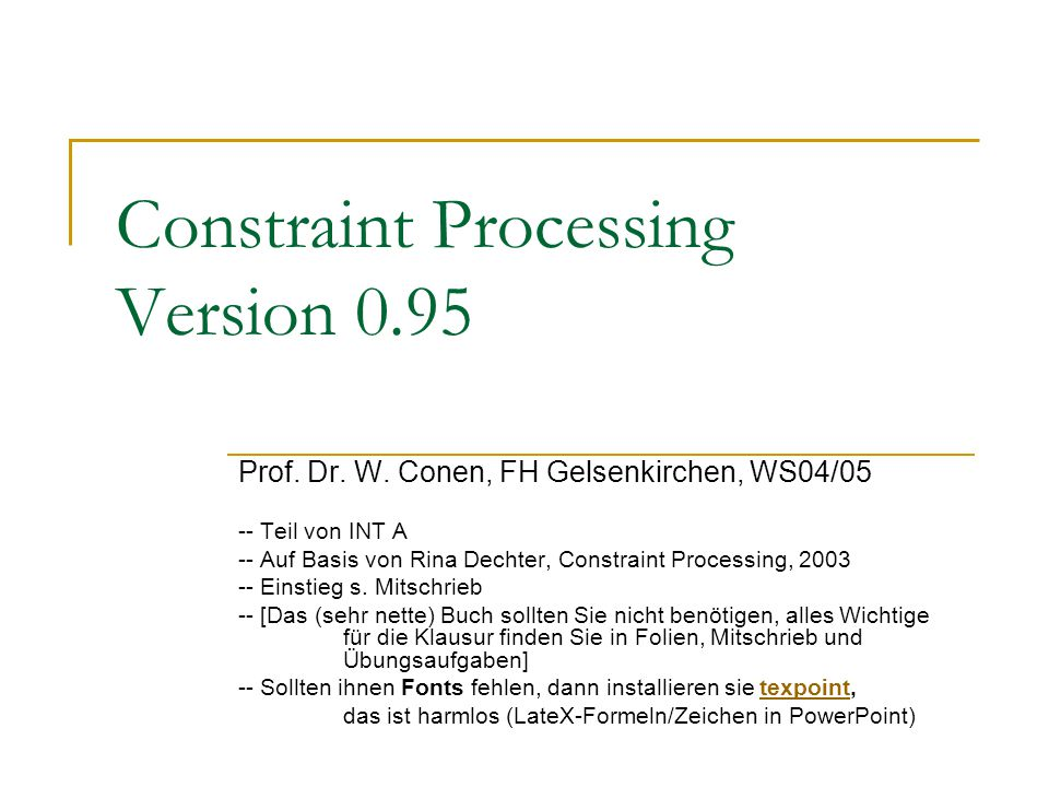 Constraint Processing Version 0.95