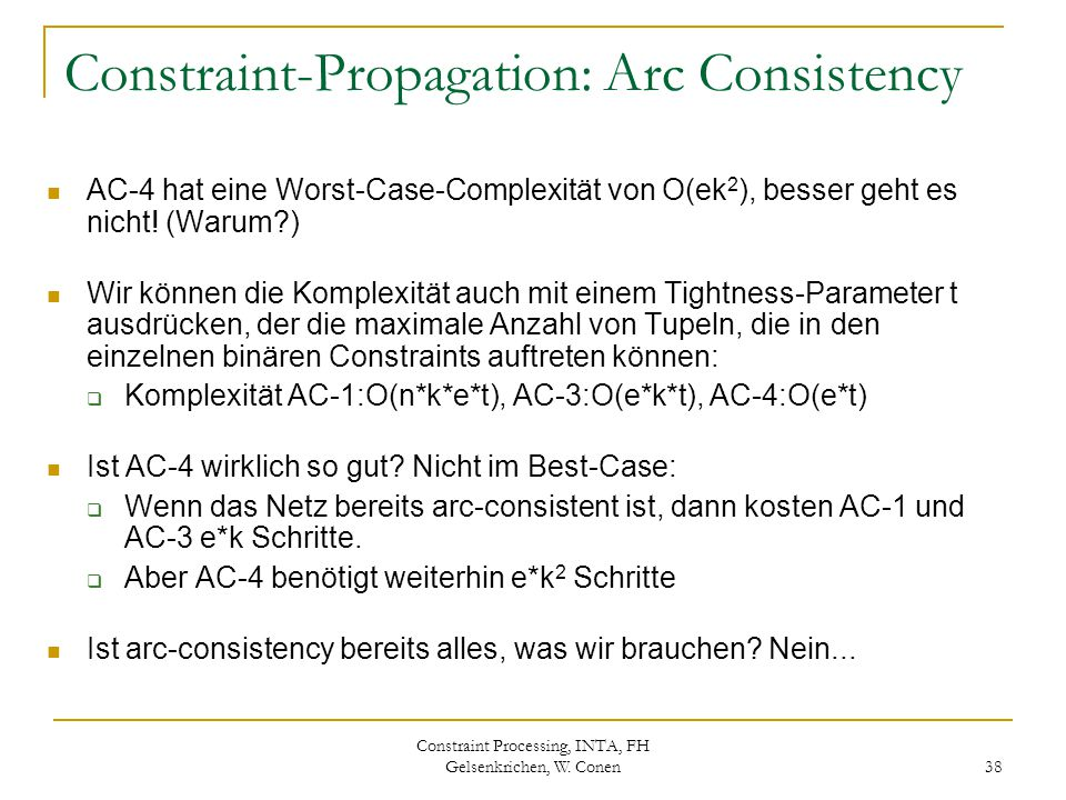 Constraint-Propagation: Arc Consistency