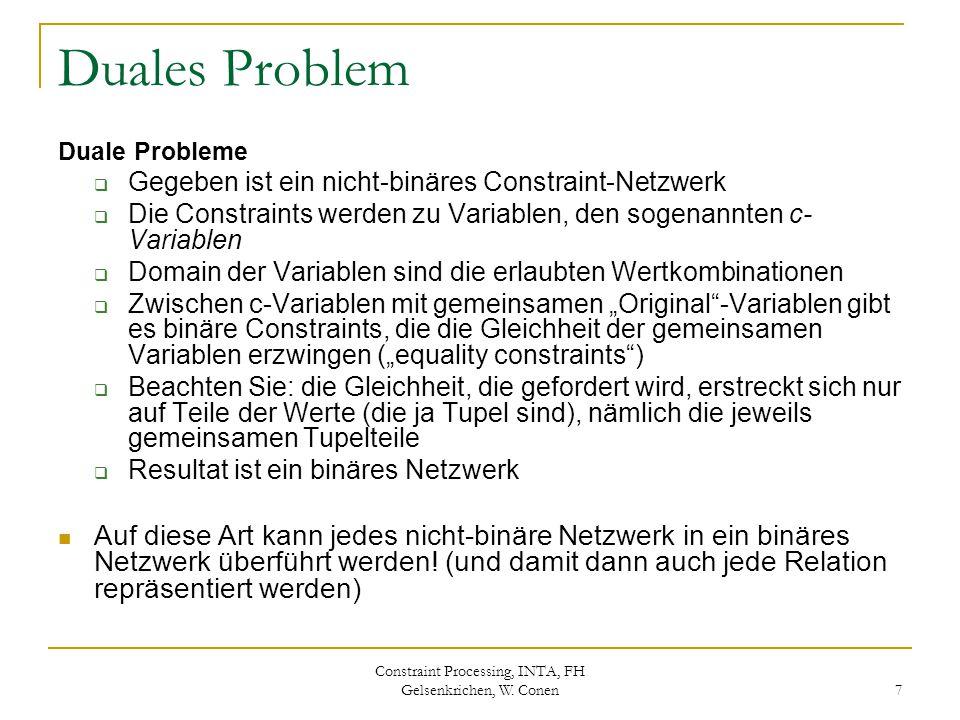 Constraint Processing, INTA, FH Gelsenkrichen, W. Conen