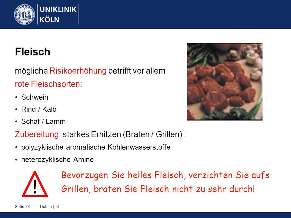 Fleisch mögliche Risikoerhöhung betrifft vor allem. rote Fleischsorten: Schwein. Rind / Kalb. Schaf / Lamm.