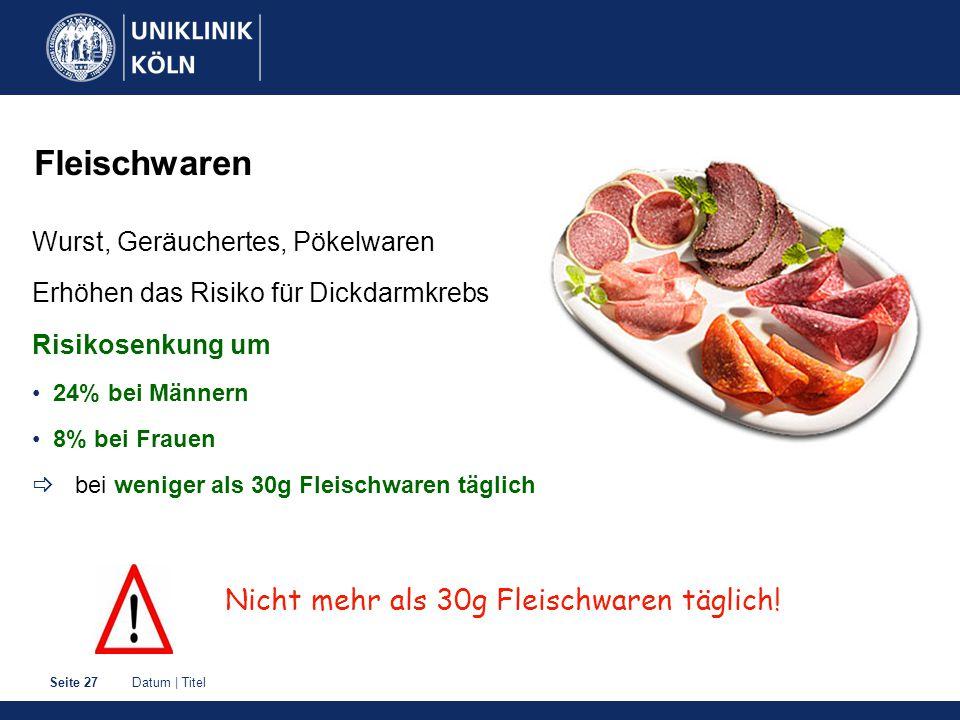Fleischwaren Nicht mehr als 30g Fleischwaren täglich!