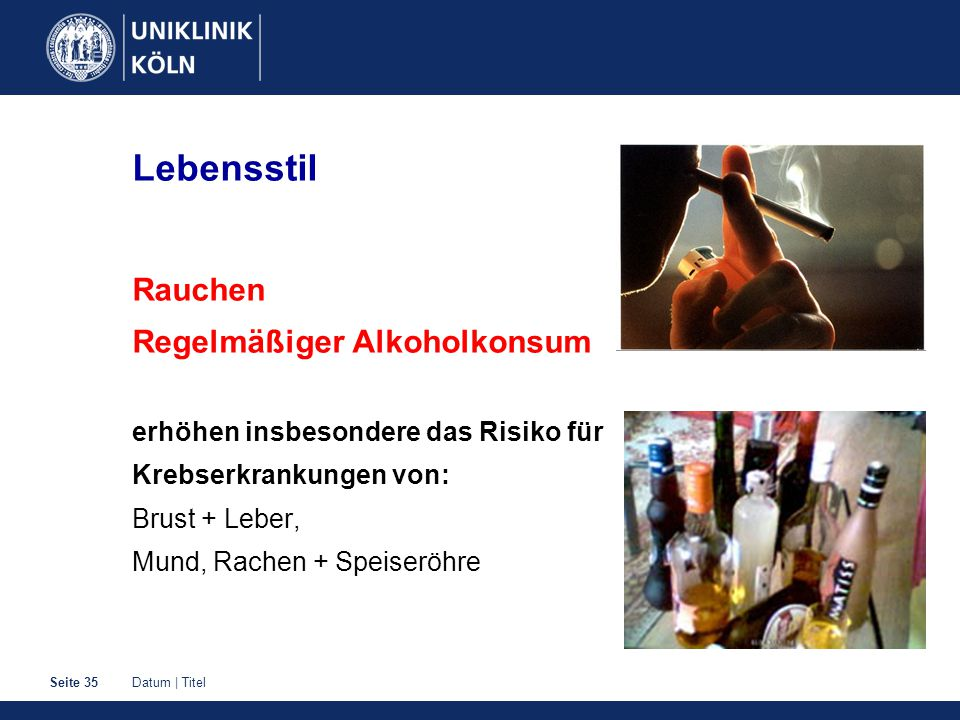 Lebensstil Rauchen Regelmäßiger Alkoholkonsum