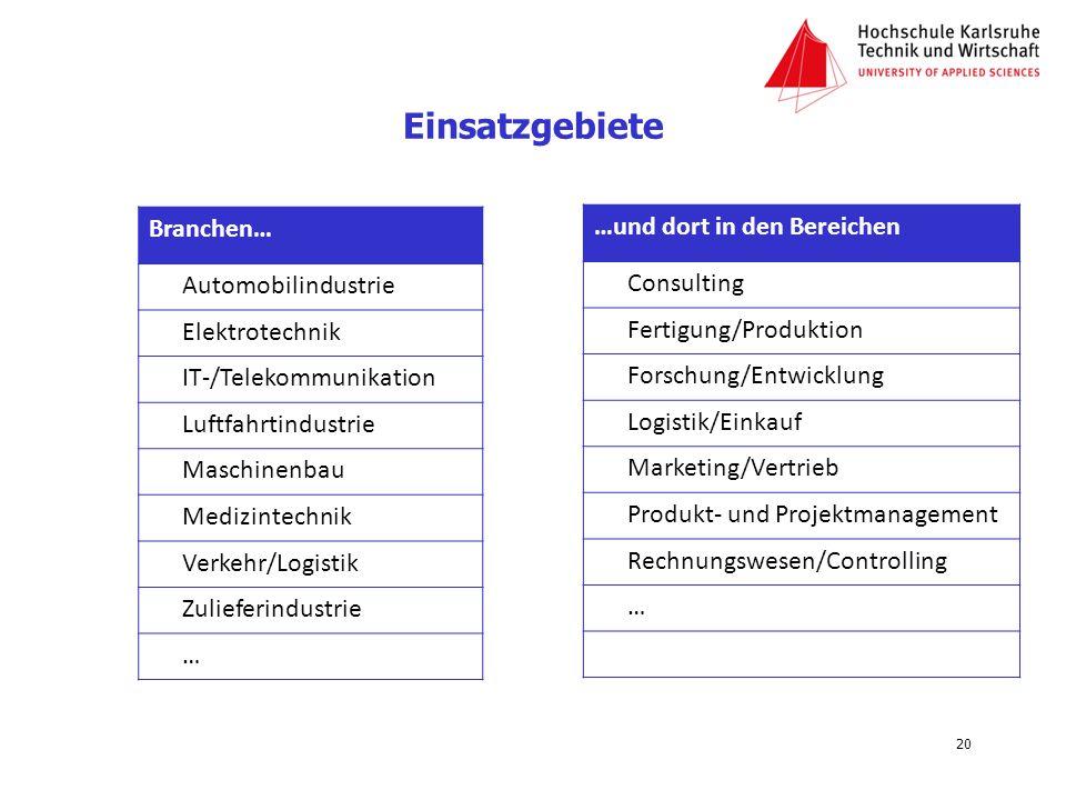 Einsatzgebiete Branchen… …und dort in den Bereichen Consulting