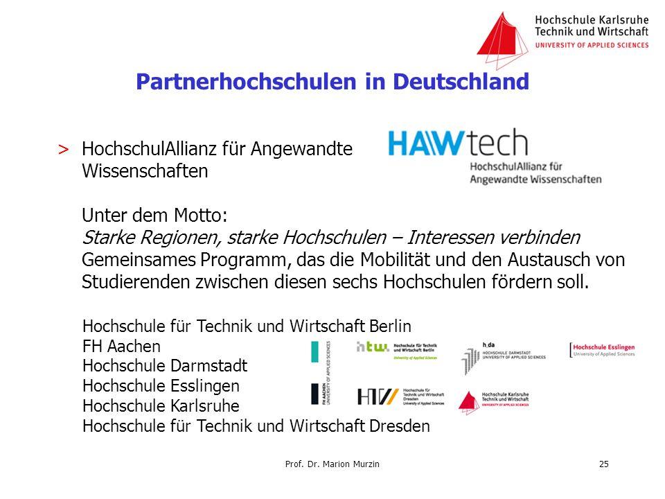 Partnerhochschulen in Deutschland