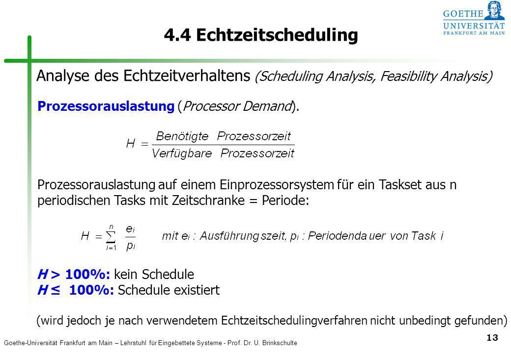 4.4 Echtzeitscheduling Analyse des Echtzeitverhaltens (Scheduling Analysis, Feasibility Analysis) Prozessorauslastung (Processor Demand).