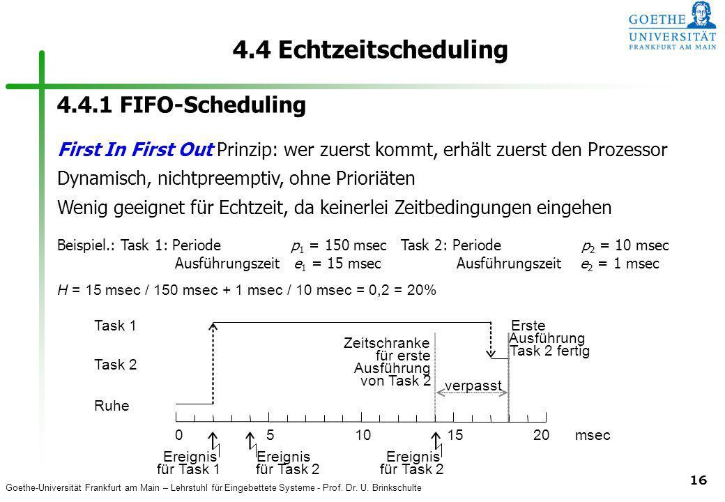 4.4 Echtzeitscheduling 4.4.1 FIFO-Scheduling