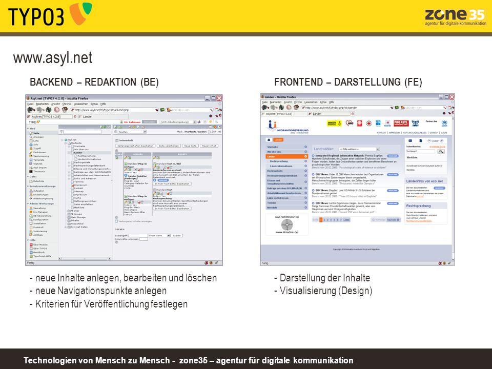 www.asyl.net BACKEND – REDAKTION (BE) FRONTEND – DARSTELLUNG (FE)