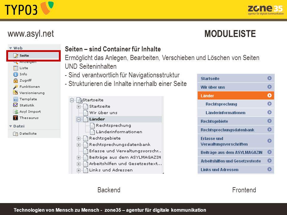 www.asyl.net MODULEISTE Seiten – sind Container für Inhalte