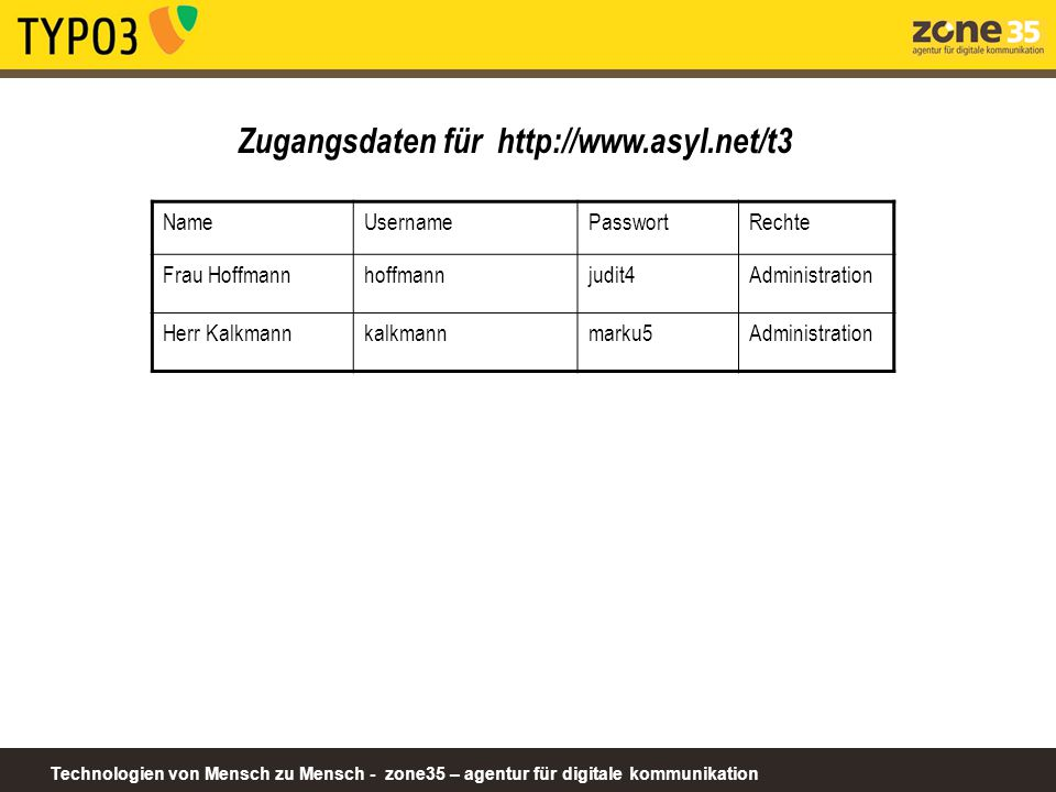 Zugangsdaten für http://www.asyl.net/t3