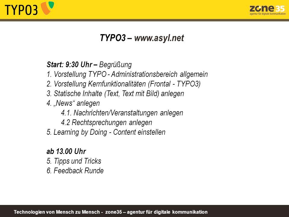 TYPO3 – www.asyl.net Start: 9:30 Uhr – Begrüßung