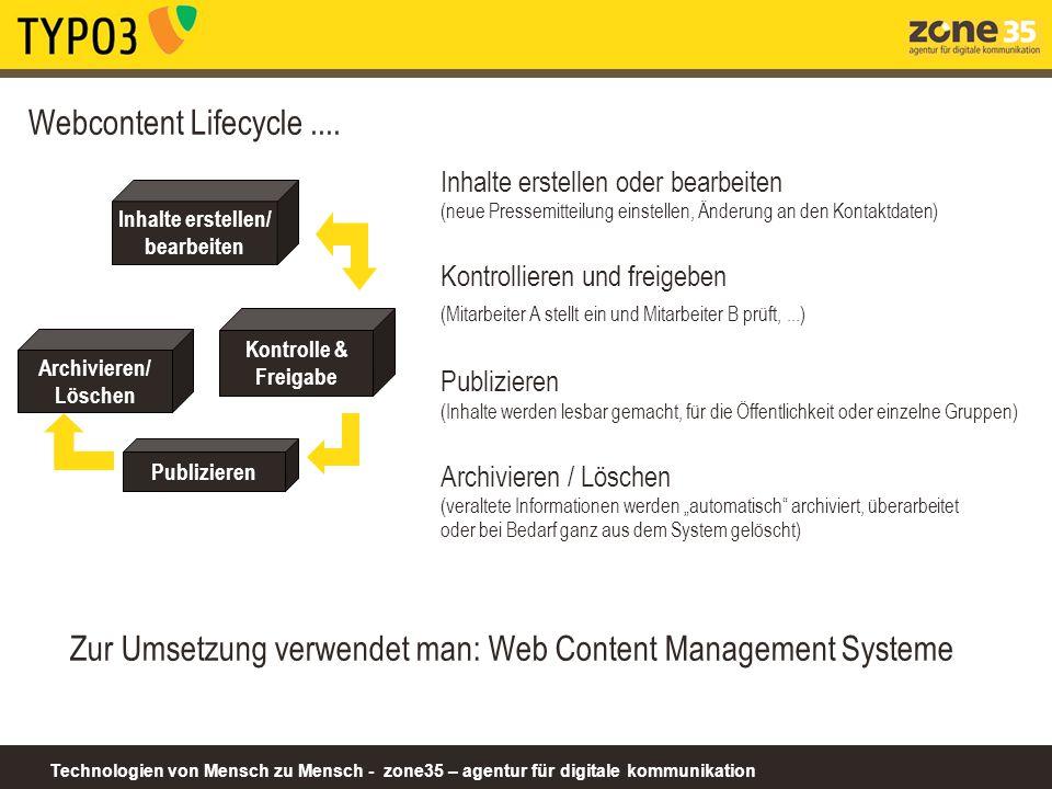 Zur Umsetzung verwendet man: Web Content Management Systeme